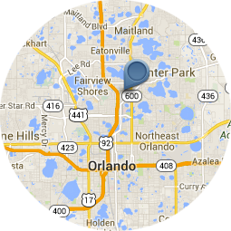 map of our location in Winter Park North of Orlando